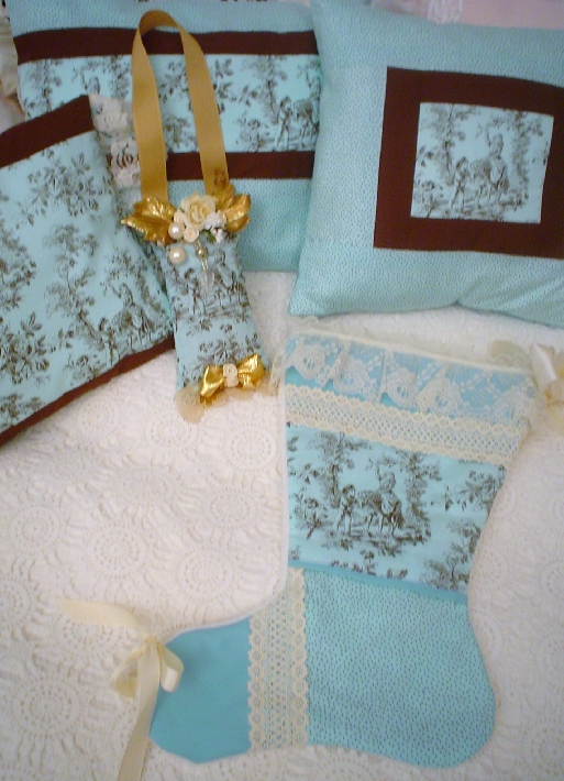 A Chic Patchwork turquoise Toile  lace Christmas stocking