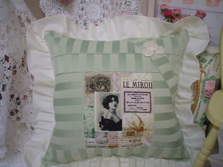 Beautiful Victorian Boudoir 1of a kind Romantic Paris Sage gree damask chic ruffle Pillow
