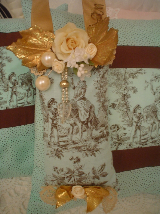 A Chic Lavender sachet  turquoise Toile  lace flowers