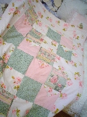 Shabby cottage chic pink roses chenille patchwork throw blanket