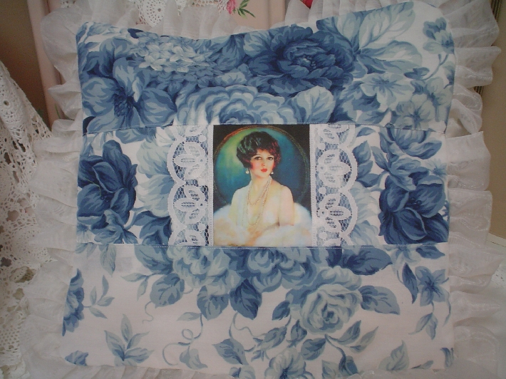 Victorian lady image blue roses Lace 1 of a Kind chic pillow
