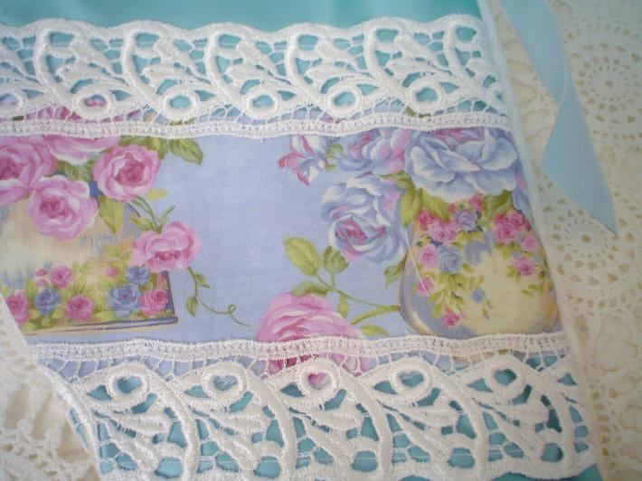 Victorian Venice lace Blue Teacup roses Satin vintage matelasse Hand M Chic Christmas stocking