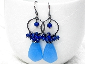 CLEARANCE Icy Blue Chalcedony Lapis Lazuli Arabesque Sterling Silver Earrings