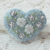 Something Blue Small Handmade Felt Bead and Embroidery Heart Pin