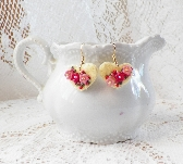 Pink and Raspberry Floral Warm Yellow Felt Heart Earrings
