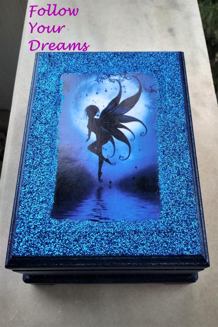 Handmade wooden box Blue Fairy Jewelry Box Gift Box