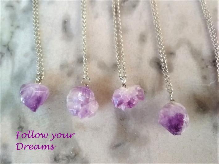 Handmade Necklace with natural amethyst crystal