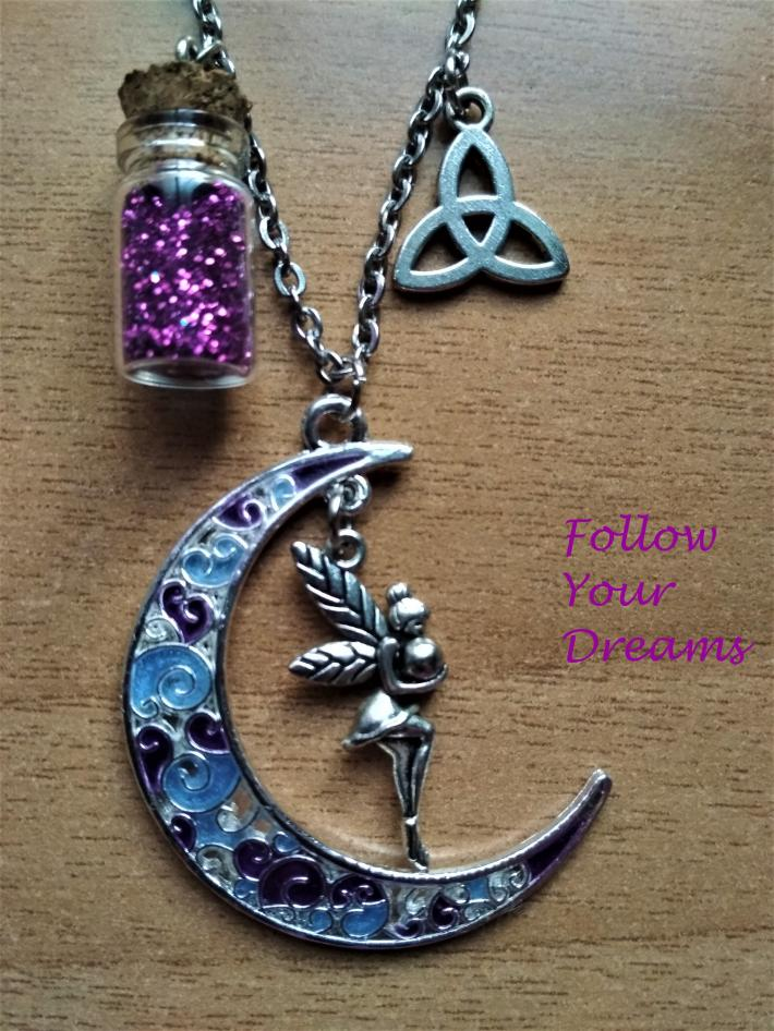 Half moon Pendant with a fairy  triquetra fairydust magic