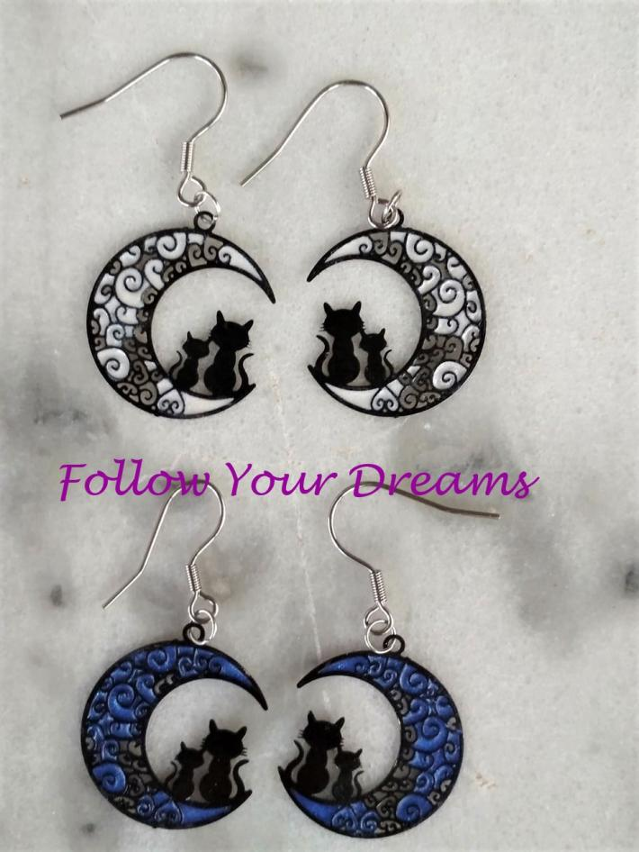 Half moon cat earrings  memento mori