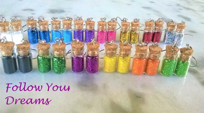 Handmade Tinny glass bottle earrings filled with glitter