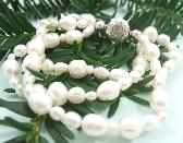 White Freshwater Pearl Triple Strand Bracelet