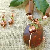 Copper Peridot and Wood Beaded Necklace Set