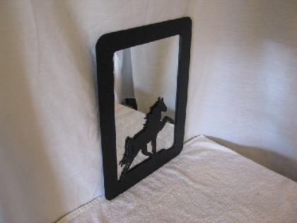 Walking Horse Metal Picture Frame Large with Mirror