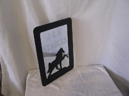 Walking Horse Metal Picture Frame Large with Mirror Laser Etched