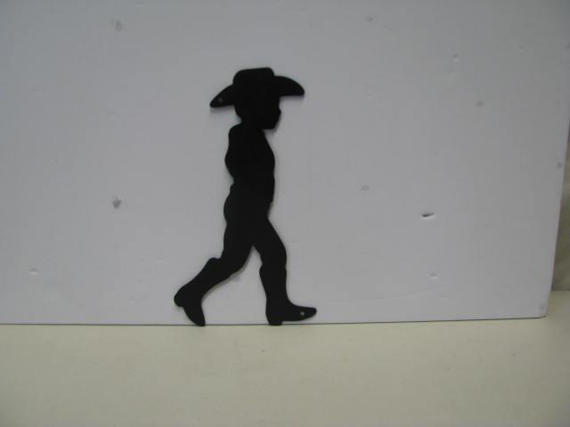 Cowboy Walking ST 2010 Western Metal Yard Art Silhouette
