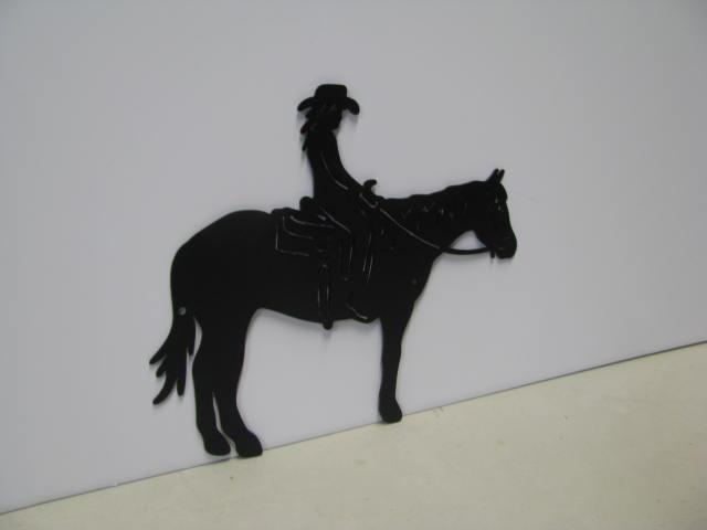 Girl on Horse ST 2011 Western Metal Art Silhouette