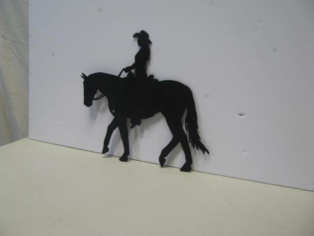 Cowgirl Horse 001 Western Metal Wall Art Silhouette