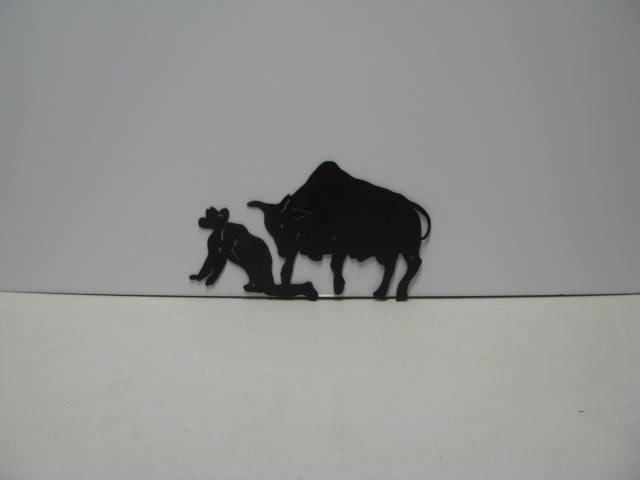 Bull Rider 003 Western Metal Wall Yard Art Silhouette