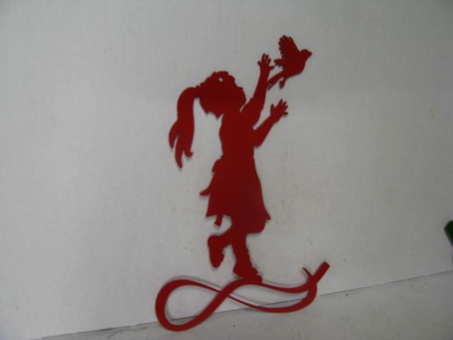 Girl Bird 003 Metal Wall Yard Art Silhouette