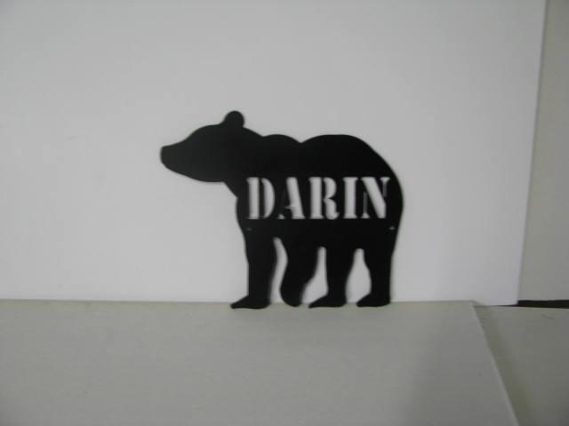 Bear 1 with Name Metal Wall Yard Art Silhouette