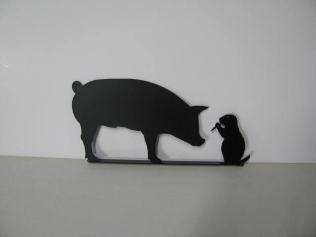 Prairie Dog and Pig Mailbox Topper Metal Yard Silhouette