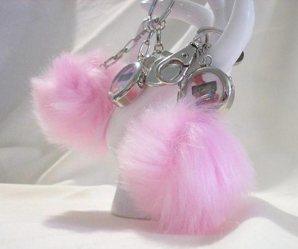 Childrens pom pom key chain with watch