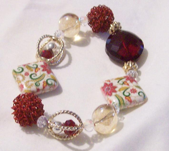 Red and Ivory stretch bracelet