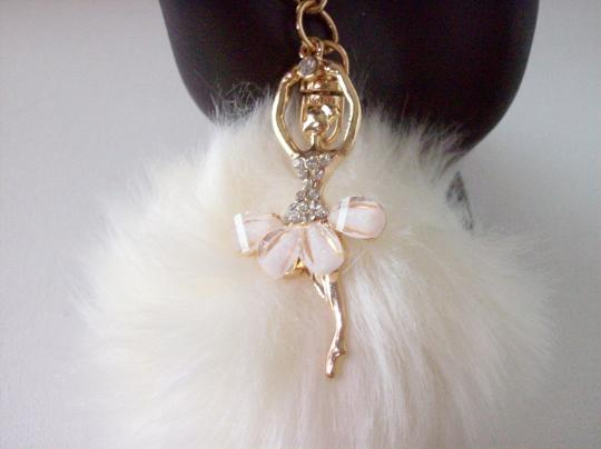 White Ballerina Pom Pom Key chain