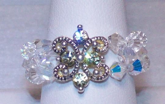 Opal blue green or clear woven ring