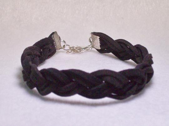 Black braided suede mens bracelet