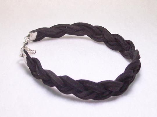 Black braided suede mens bracelet