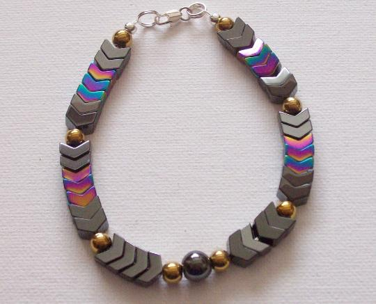 Mens Chevron style bracelet Hematite rainbow Beads