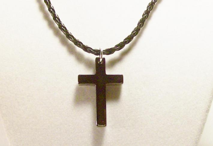 Men's hematite cross on a black leather 18 inch