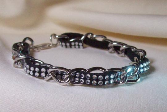 Bracelet tan or black rhinestone covered suede