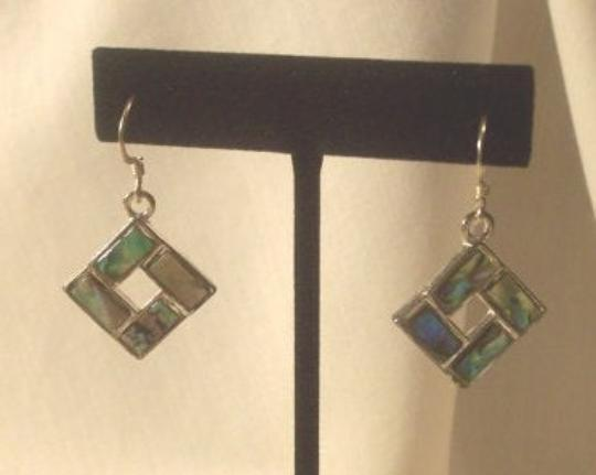 Abalone stone earrings sterling silver