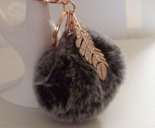 Key Chain fluffy ball key chain 6 inch