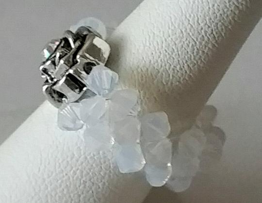 White Opal woven crystal ring