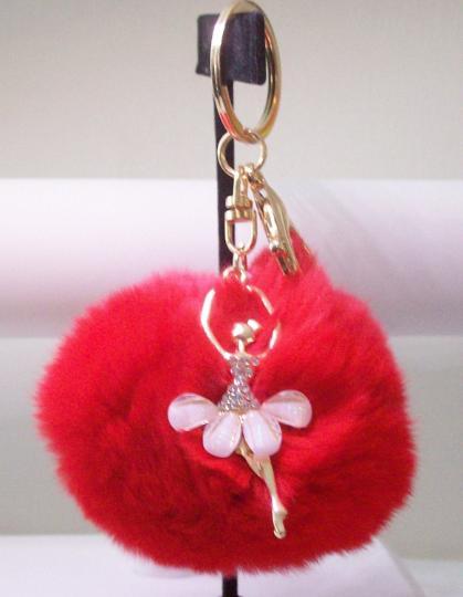 Red Pom Pom key chain