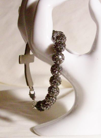 Smokey gray cross bracelet made with Shambala beads