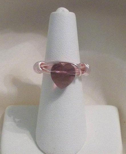 Pink wire wrapped ring with 10 MM crystal heart
