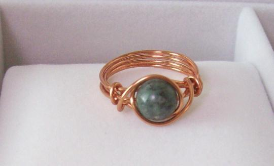 8 mm Jade Bead and copper wire ring size 8