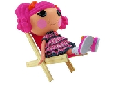 Wooden Toy Doll Chair with dark pink fabric