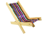 Wooden Toy Lounge Chair with sparkling multicolor stripe fabric
