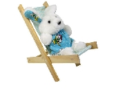 Wooden Toy Beach Chair with aqua stripe fabric