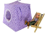 Light purple Toy Pop Up Tent and 2 Sleeping Bags with rosebud print fabric