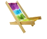 Wooden Toy Beach Chair with multicolor tie dye fabric