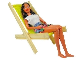 Wooden Toy Lawn Chair with yellow fabric