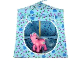 Light blue Toy Pop Up Tent and 2 Sleeping Bags with tulip and heart print fabric