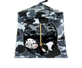 Grey and black Toy Pop Up Tent and 2 Sleeping Bags with camouflage print fabric