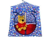 Blue Toy Pop Up Tent and 2 Sleeping Bags with rainbow and star print fabric